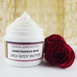 Honeysuckle Rose Whipped Shea Body Butter Deep Moisturizing 4 oz Natural